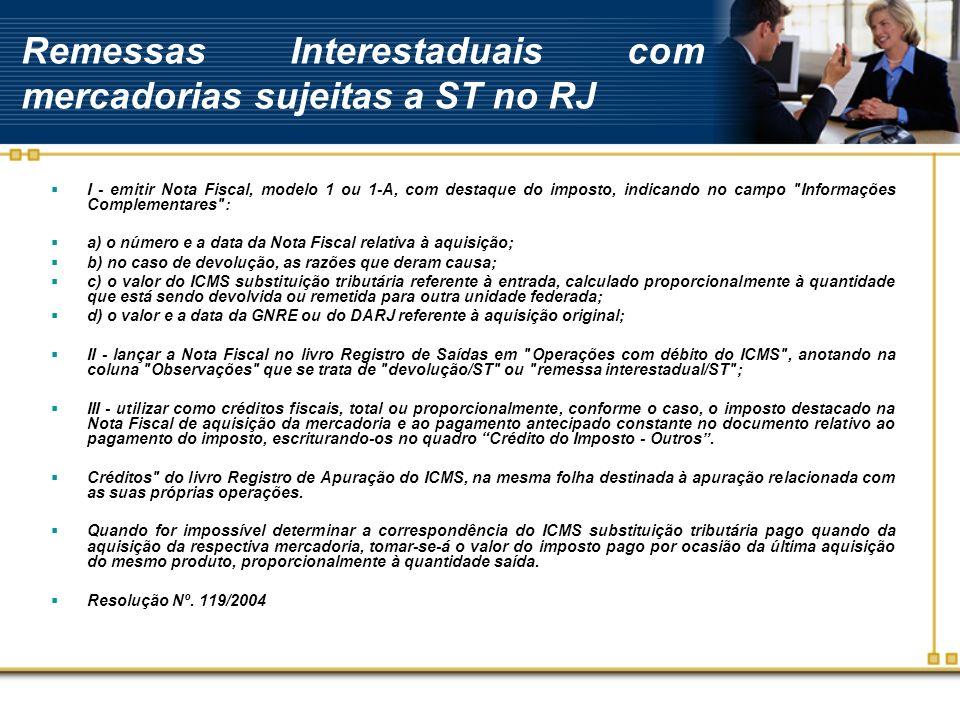 Remessas Interestaduais com mercadorias sujeitas a ST no RJ I - emitir Nota Fiscal, modelo 1 ou 1-A, com destaque do imposto, indicando no campo