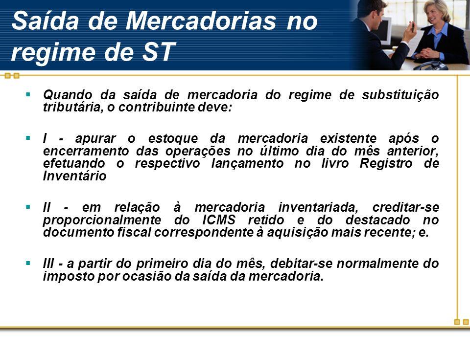 Saída de Mercadorias no regime de ST Quando da saída de mercadoria do regime de substituição tributária, o contribuinte deve: I - apurar o estoque da