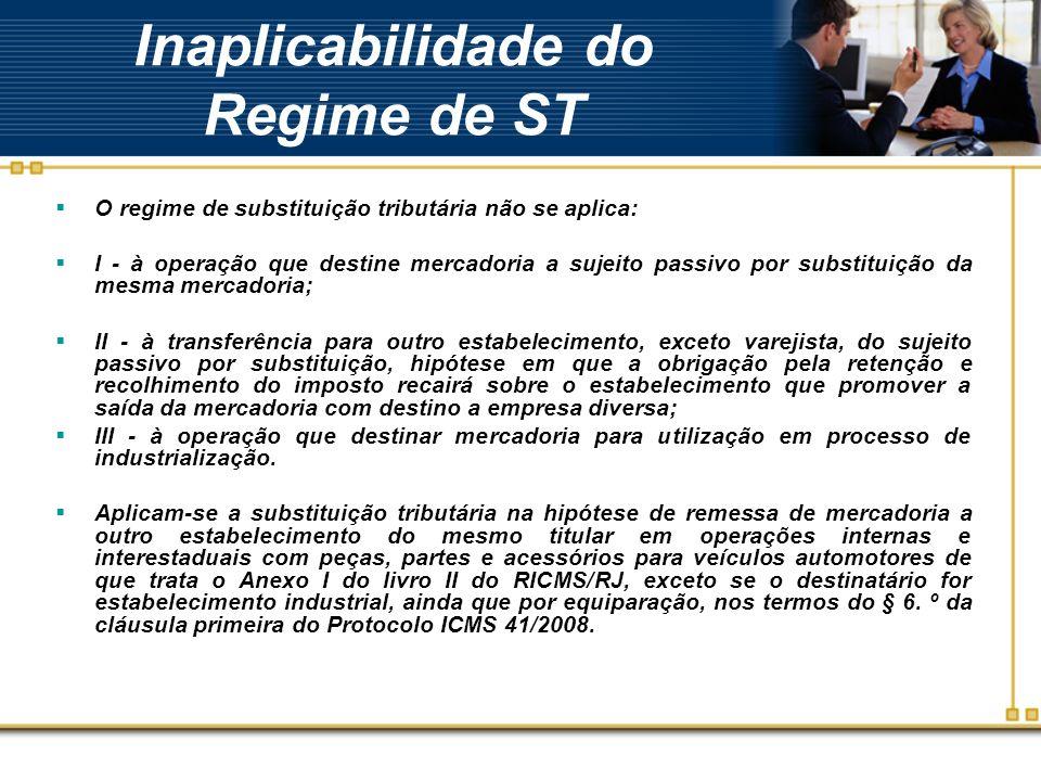 Inaplicabilidade do Regime de ST O regime de substituição tributária não se aplica: I - à operação que destine mercadoria a sujeito passivo por substi
