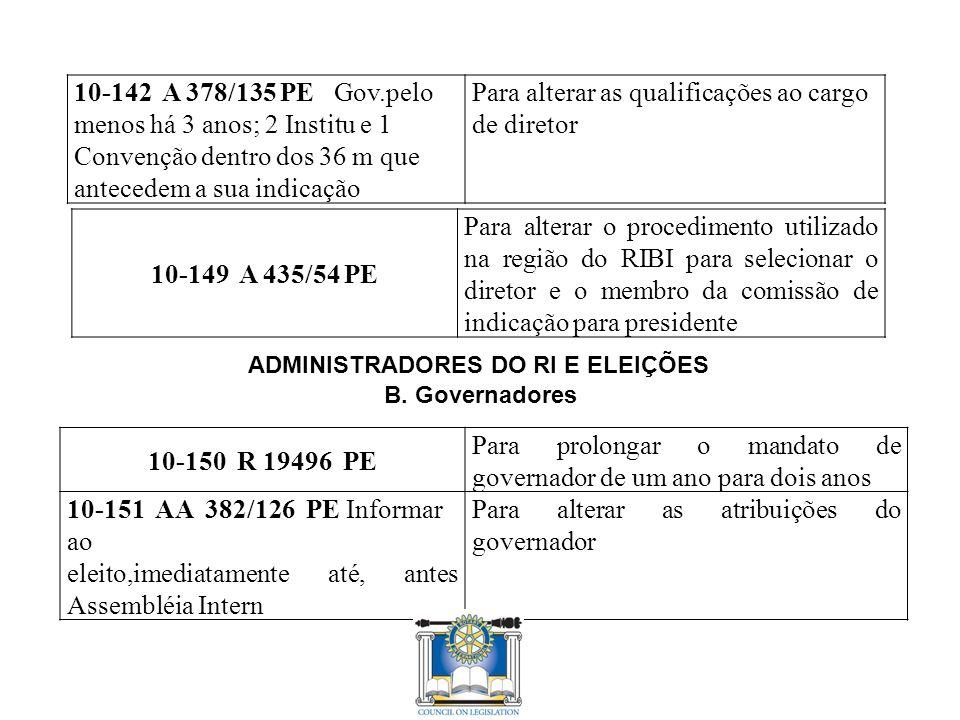 10-142 A 378/135 PE Gov.pelo menos há 3 anos; 2 Institu e 1 Convenção dentro dos 36 m que antecedem a sua indicação Para alterar as qualificações ao cargo de diretor 10-149 A 435/54 PE Para alterar o procedimento utilizado na região do RIBI para selecionar o diretor e o membro da comissão de indicação para presidente ADMINISTRADORES DO RI E ELEIÇÕES B.