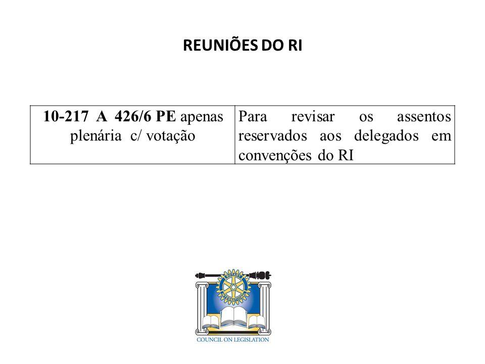 REUNIÕES DO RI 10-217 A 426/6 PE apenas plenária c/ votação Para revisar os assentos reservados aos delegados em convenções do RI