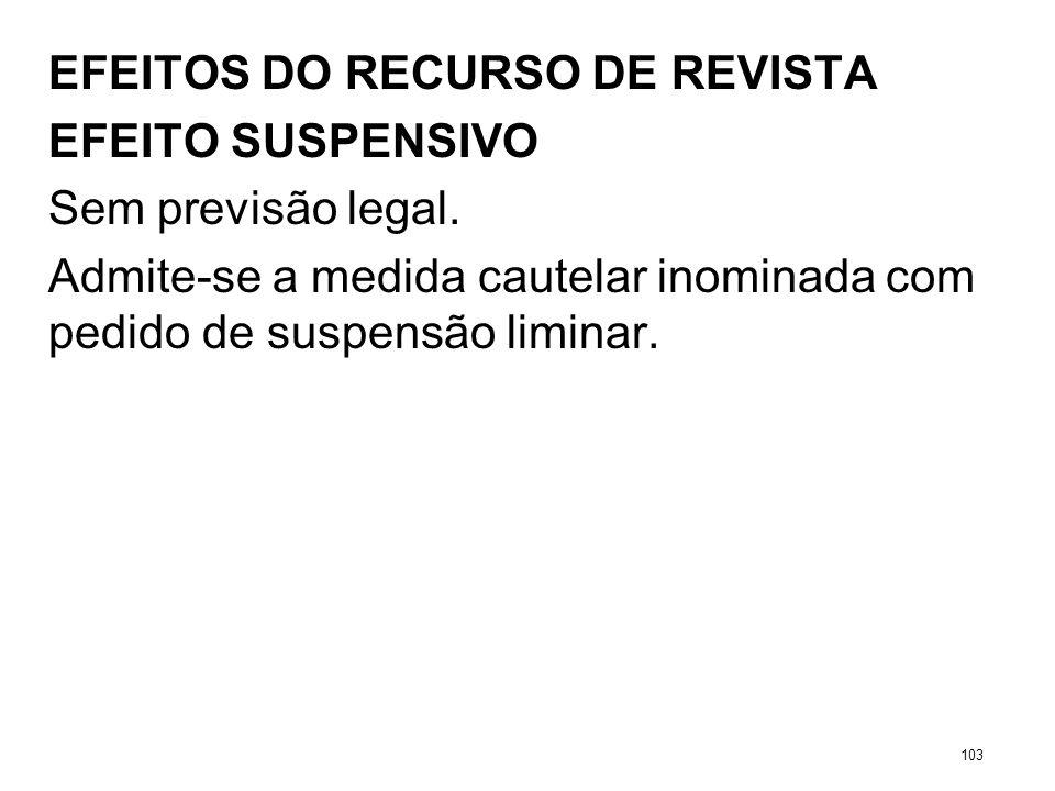 EFEITOS DO RECURSO DE REVISTA EFEITO SUSPENSIVO Sem previsão legal. Admite-se a medida cautelar inominada com pedido de suspensão liminar. 103