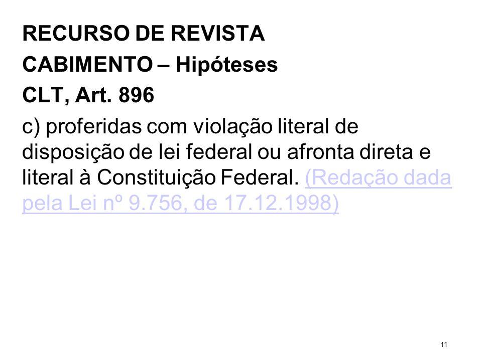 RECURSO DE REVISTA CABIMENTO – Hipóteses CLT, Art. 896 c) proferidas com violação literal de disposição de lei federal ou afronta direta e literal à C