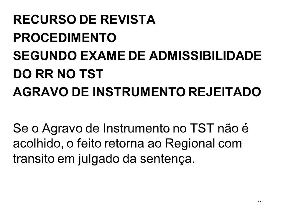 RECURSO DE REVISTA PROCEDIMENTO SEGUNDO EXAME DE ADMISSIBILIDADE DO RR NO TST AGRAVO DE INSTRUMENTO REJEITADO Se o Agravo de Instrumento no TST não é