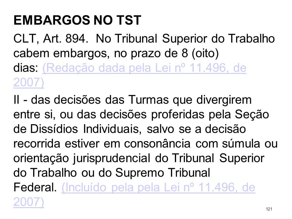 EMBARGOS NO TST CLT, Art. 894. No Tribunal Superior do Trabalho cabem embargos, no prazo de 8 (oito) dias: (Redação dada pela Lei nº 11.496, de 2007)(