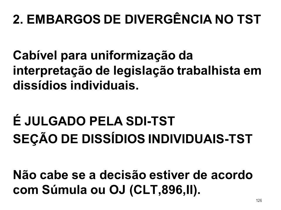 2. EMBARGOS DE DIVERGÊNCIA NO TST Cabível para uniformização da interpretação de legislação trabalhista em dissídios individuais. É JULGADO PELA SDI-T