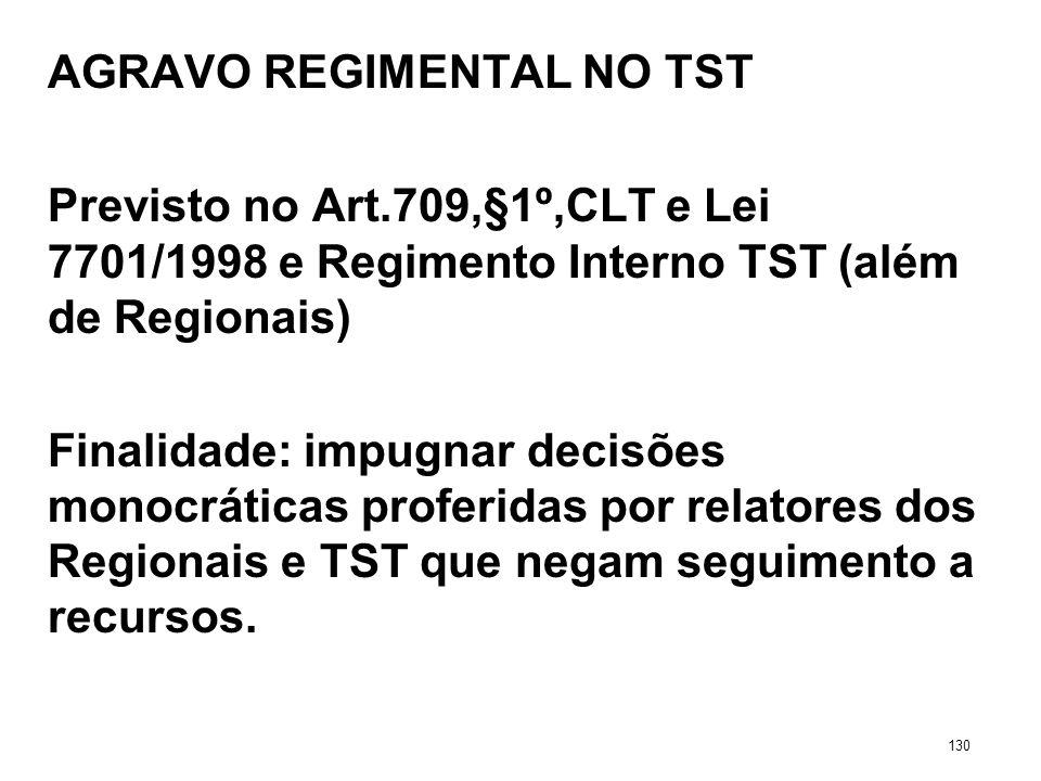 AGRAVO REGIMENTAL NO TST Previsto no Art.709,§1º,CLT e Lei 7701/1998 e Regimento Interno TST (além de Regionais) Finalidade: impugnar decisões monocrá