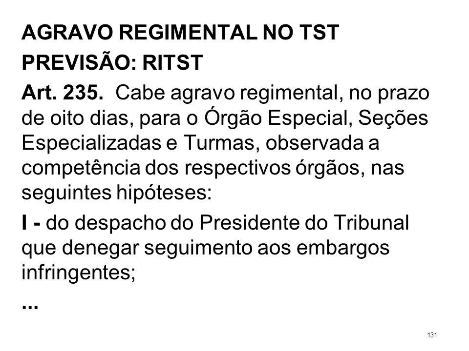 AGRAVO REGIMENTAL NO TST PREVISÃO: RITST Art. 235. Cabe agravo regimental, no prazo de oito dias, para o Órgão Especial, Seções Especializadas e Turma