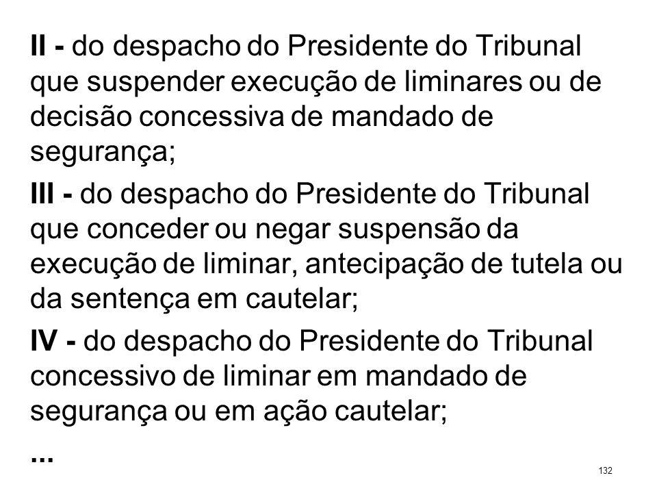 II - do despacho do Presidente do Tribunal que suspender execução de liminares ou de decisão concessiva de mandado de segurança; III - do despacho do
