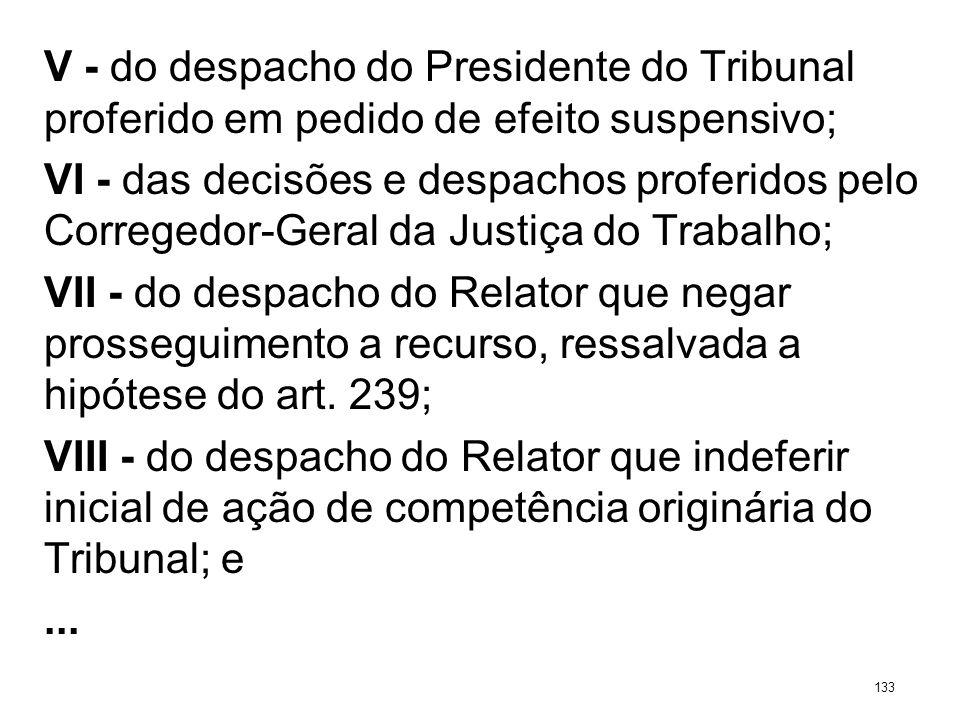V - do despacho do Presidente do Tribunal proferido em pedido de efeito suspensivo; VI - das decisões e despachos proferidos pelo Corregedor-Geral da