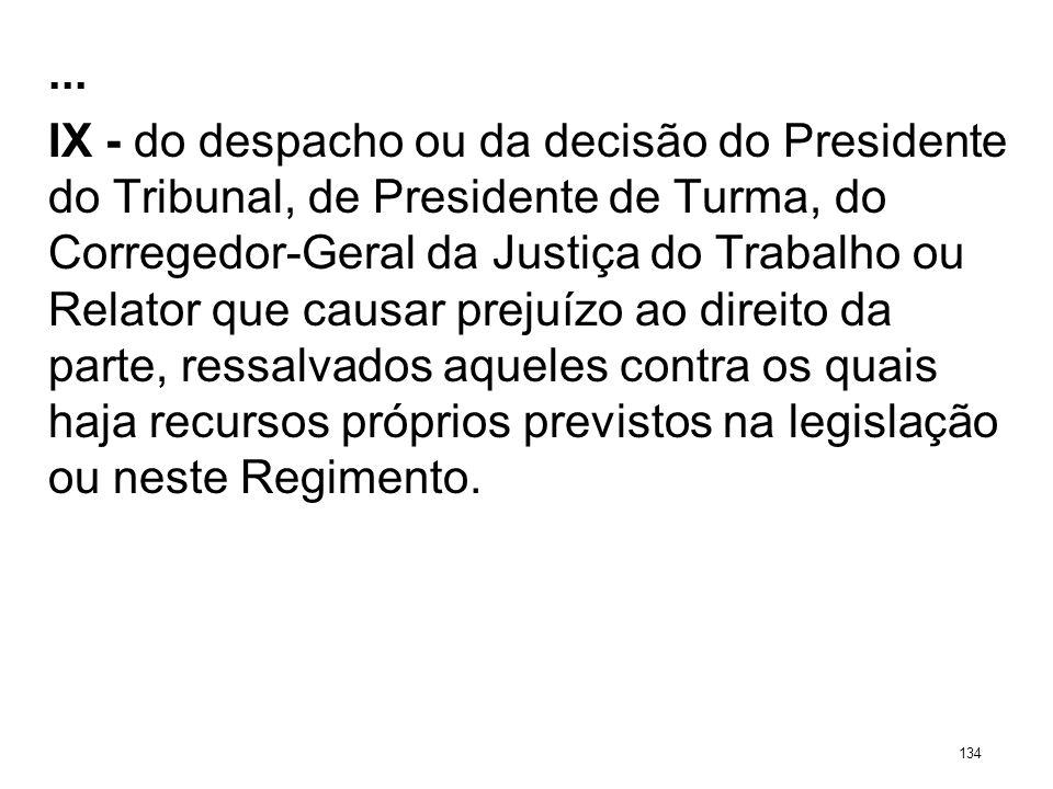 ... IX - do despacho ou da decisão do Presidente do Tribunal, de Presidente de Turma, do Corregedor-Geral da Justiça do Trabalho ou Relator que causar
