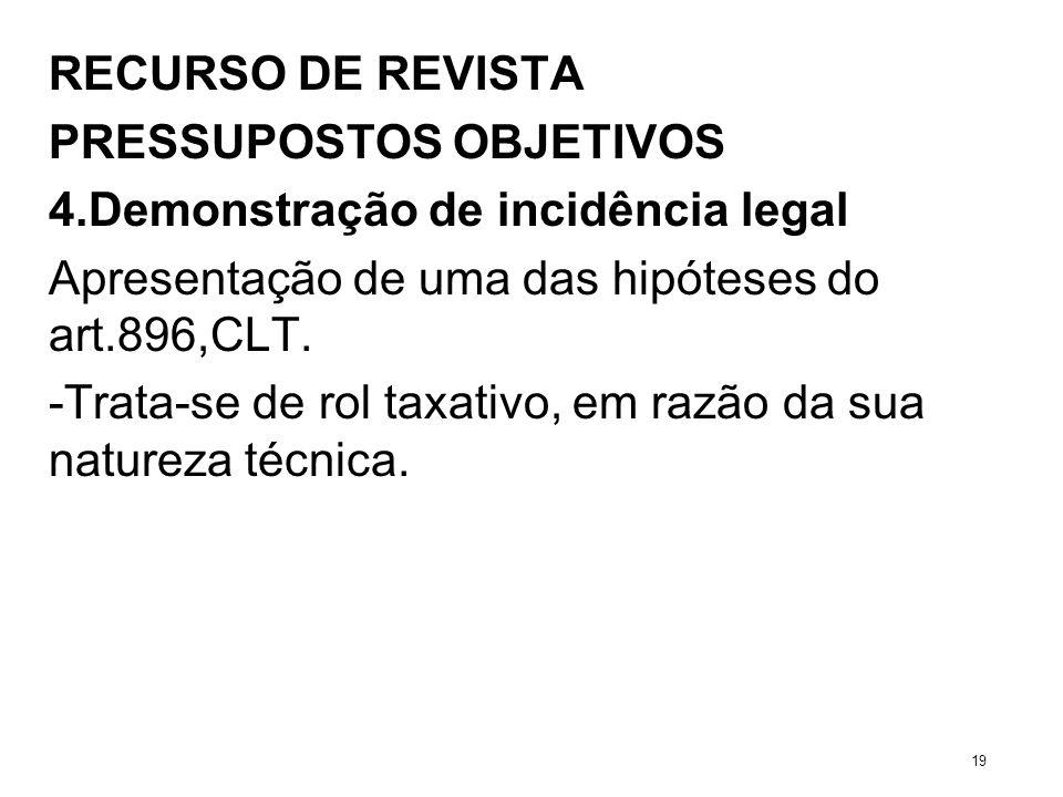 RECURSO DE REVISTA PRESSUPOSTOS OBJETIVOS 4.Demonstração de incidência legal Apresentação de uma das hipóteses do art.896,CLT. -Trata-se de rol taxati