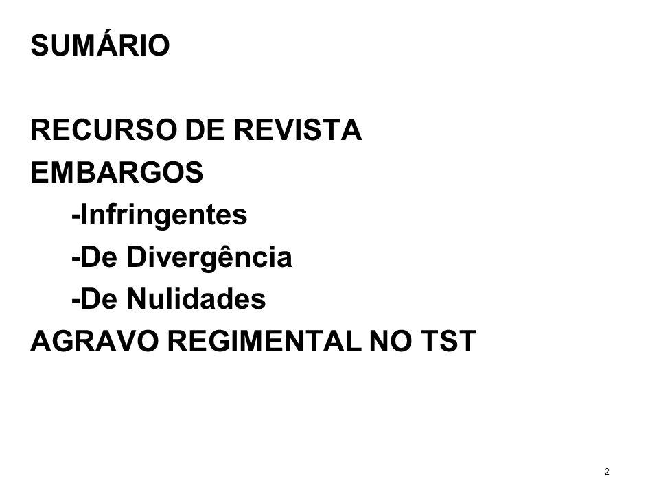 SUMÁRIO RECURSO DE REVISTA EMBARGOS -Infringentes -De Divergência -De Nulidades AGRAVO REGIMENTAL NO TST 2