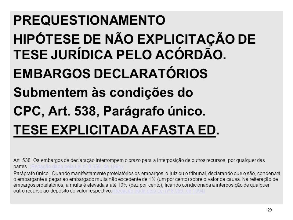 PREQUESTIONAMENTO HIPÓTESE DE NÃO EXPLICITAÇÃO DE TESE JURÍDICA PELO ACÓRDÃO. EMBARGOS DECLARATÓRIOS Submentem às condições do CPC, Art. 538, Parágraf