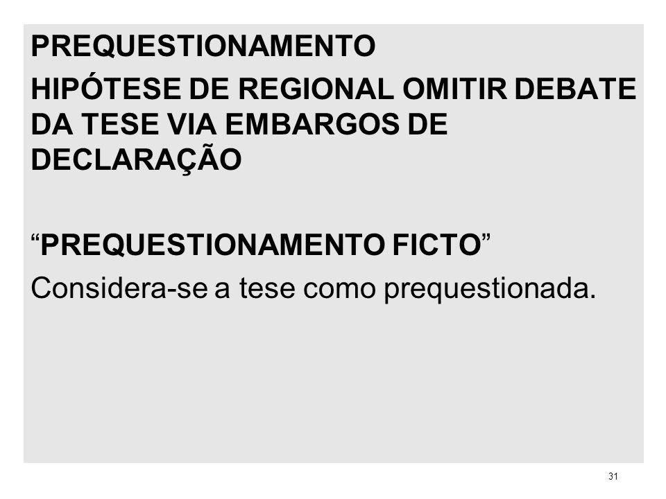 PREQUESTIONAMENTO HIPÓTESE DE REGIONAL OMITIR DEBATE DA TESE VIA EMBARGOS DE DECLARAÇÃO PREQUESTIONAMENTO FICTO Considera-se a tese como prequestionad
