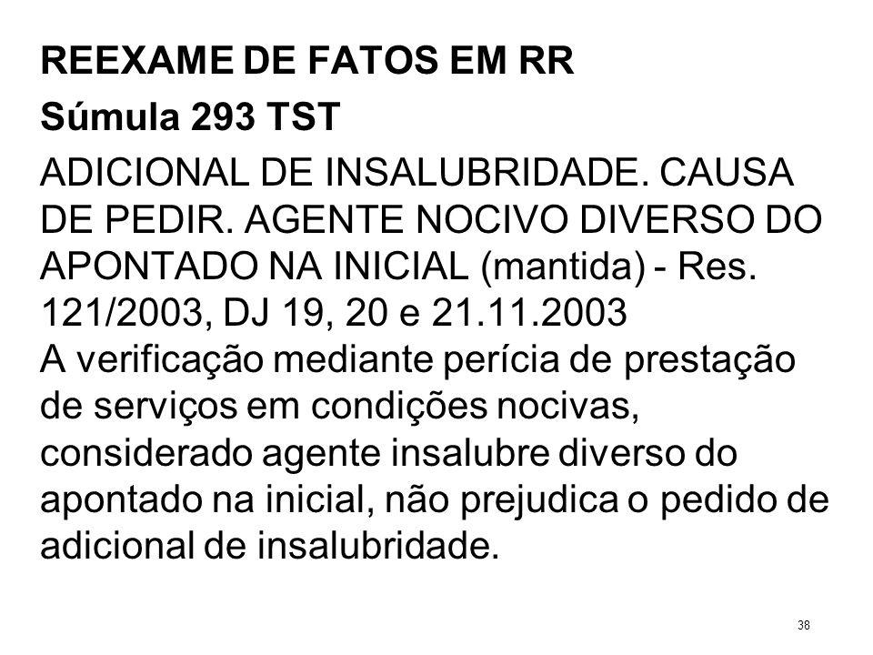 REEXAME DE FATOS EM RR Súmula 293 TST ADICIONAL DE INSALUBRIDADE. CAUSA DE PEDIR. AGENTE NOCIVO DIVERSO DO APONTADO NA INICIAL (mantida) - Res. 121/20