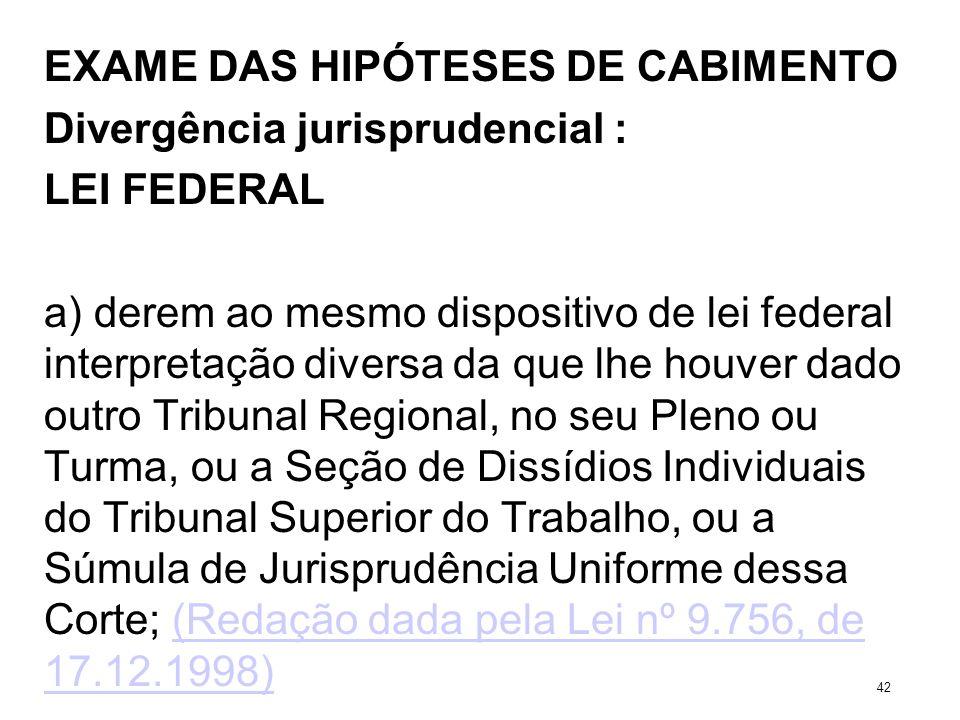 EXAME DAS HIPÓTESES DE CABIMENTO Divergência jurisprudencial : LEI FEDERAL a) derem ao mesmo dispositivo de lei federal interpretação diversa da que l
