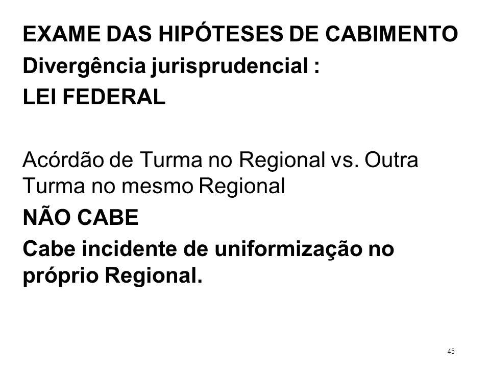 EXAME DAS HIPÓTESES DE CABIMENTO Divergência jurisprudencial : LEI FEDERAL Acórdão de Turma no Regional vs. Outra Turma no mesmo Regional NÃO CABE Cab
