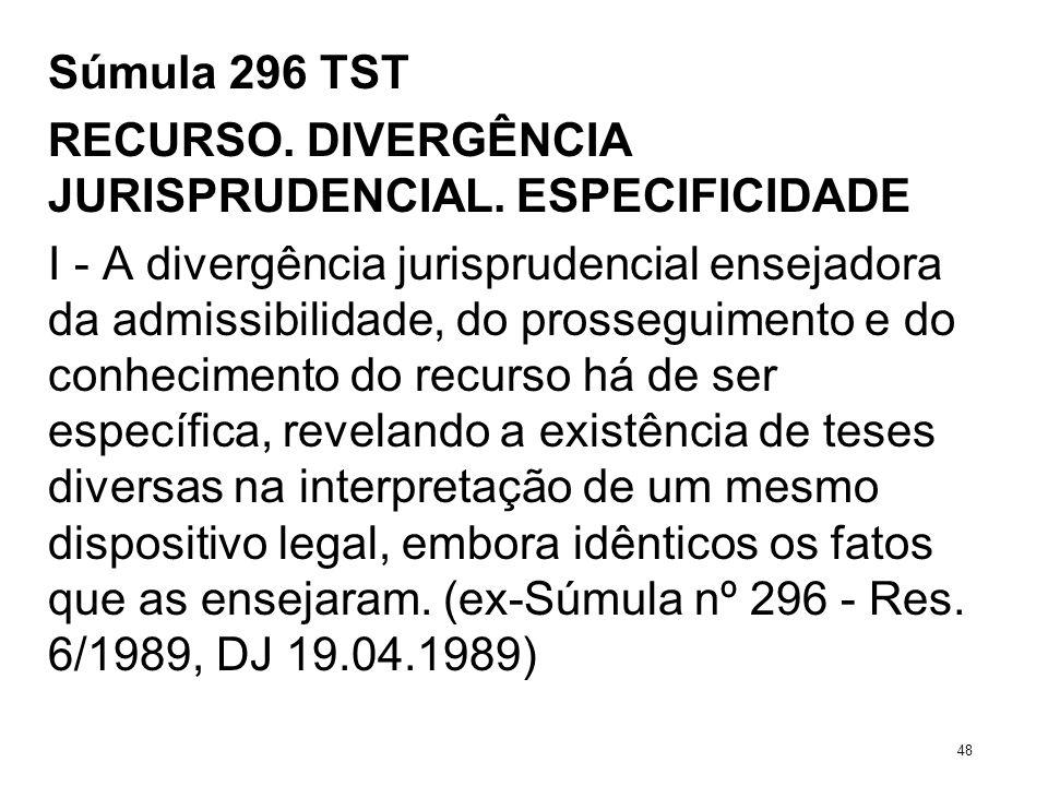 Súmula 296 TST RECURSO. DIVERGÊNCIA JURISPRUDENCIAL. ESPECIFICIDADE I - A divergência jurisprudencial ensejadora da admissibilidade, do prosseguimento