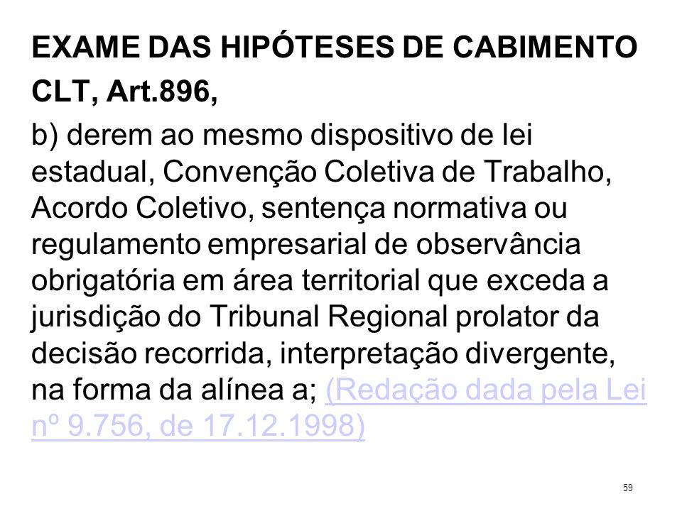 EXAME DAS HIPÓTESES DE CABIMENTO CLT, Art.896, b) derem ao mesmo dispositivo de lei estadual, Convenção Coletiva de Trabalho, Acordo Coletivo, sentenç