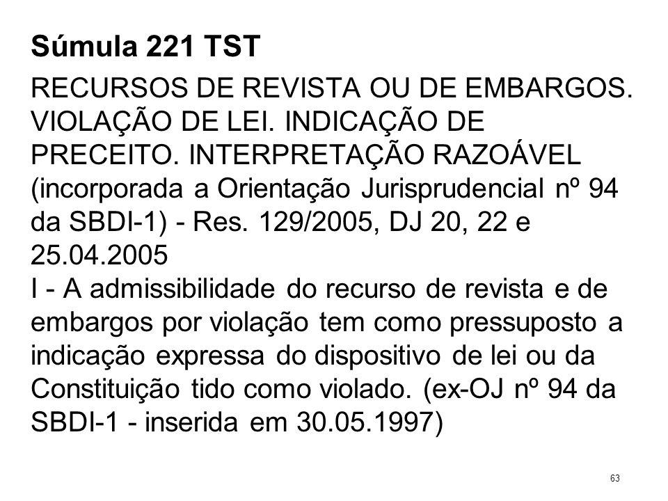 Súmula 221 TST RECURSOS DE REVISTA OU DE EMBARGOS. VIOLAÇÃO DE LEI. INDICAÇÃO DE PRECEITO. INTERPRETAÇÃO RAZOÁVEL (incorporada a Orientação Jurisprude
