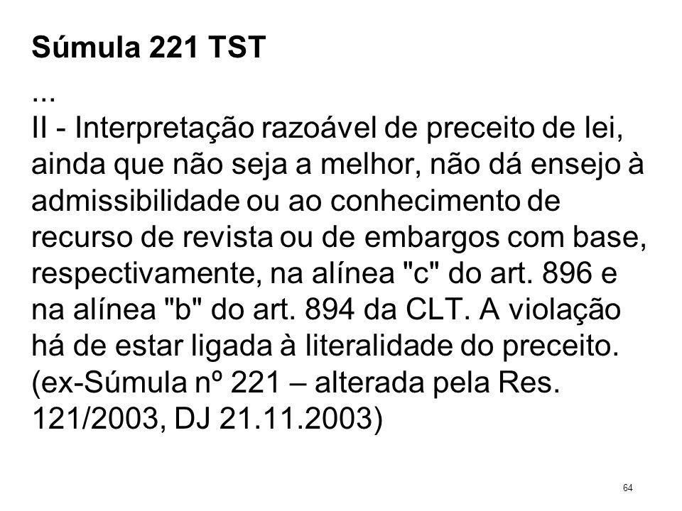 Súmula 221 TST... II - Interpretação razoável de preceito de lei, ainda que não seja a melhor, não dá ensejo à admissibilidade ou ao conhecimento de r