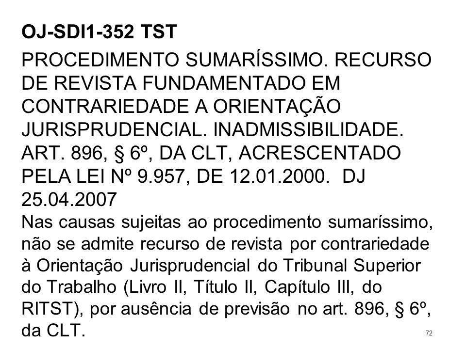 OJ-SDI1-352 TST PROCEDIMENTO SUMARÍSSIMO. RECURSO DE REVISTA FUNDAMENTADO EM CONTRARIEDADE A ORIENTAÇÃO JURISPRUDENCIAL. INADMISSIBILIDADE. ART. 896,