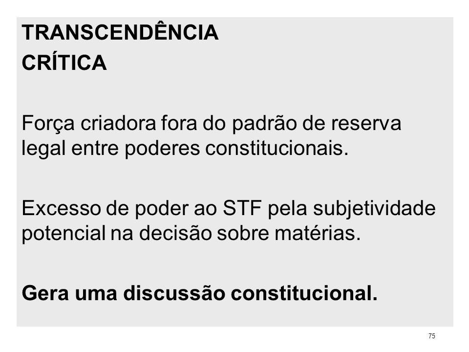 TRANSCENDÊNCIA CRÍTICA Força criadora fora do padrão de reserva legal entre poderes constitucionais. Excesso de poder ao STF pela subjetividade potenc