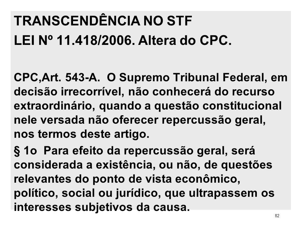 TRANSCENDÊNCIA NO STF LEI Nº 11.418/2006. Altera do CPC. CPC,Art. 543-A. O Supremo Tribunal Federal, em decisão irrecorrível, não conhecerá do recurso