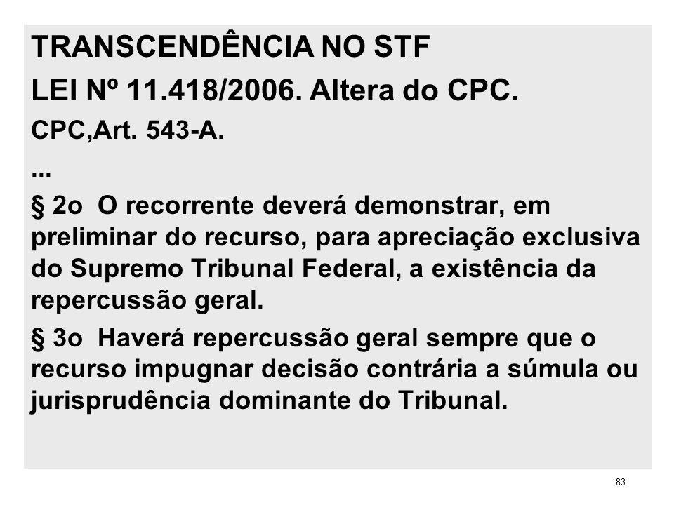 TRANSCENDÊNCIA NO STF LEI Nº 11.418/2006. Altera do CPC. CPC,Art. 543-A.... § 2o O recorrente deverá demonstrar, em preliminar do recurso, para apreci