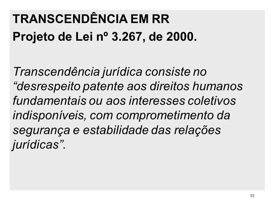 TRANSCENDÊNCIA EM RR Projeto de Lei nº 3.267, de 2000. Transcendência jurídica consiste no desrespeito patente aos direitos humanos fundamentais ou ao