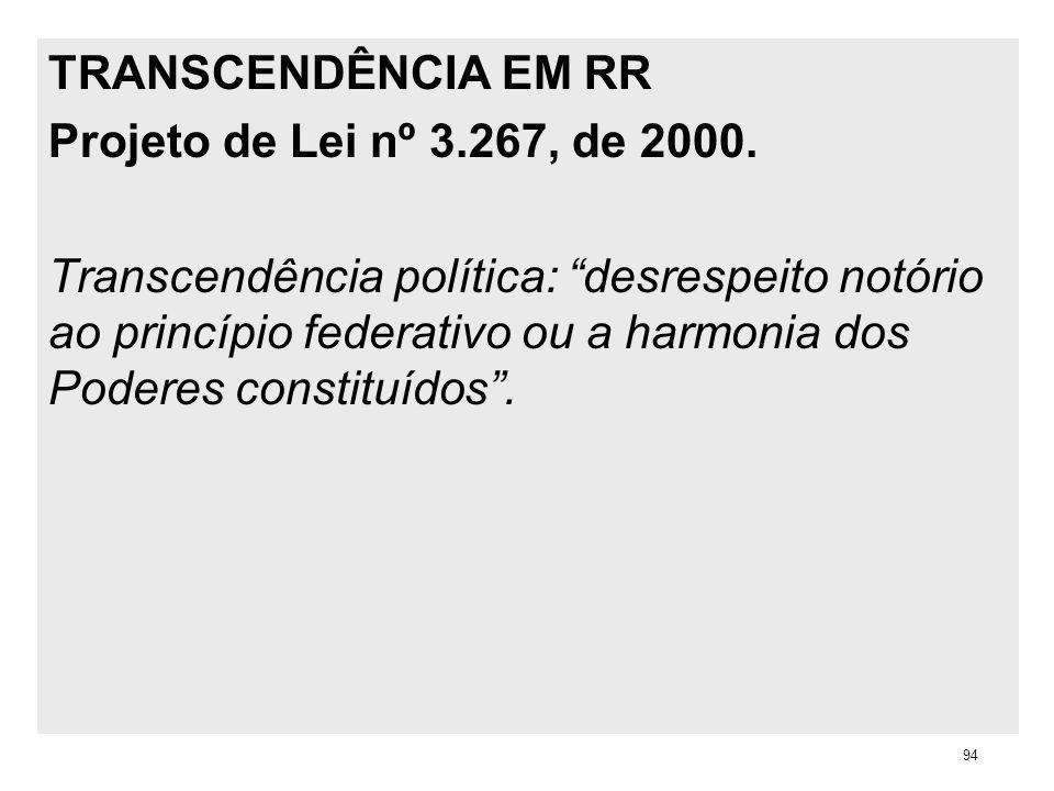 TRANSCENDÊNCIA EM RR Projeto de Lei nº 3.267, de 2000. Transcendência política: desrespeito notório ao princípio federativo ou a harmonia dos Poderes