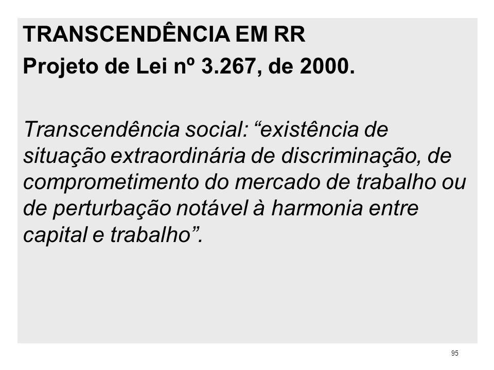 TRANSCENDÊNCIA EM RR Projeto de Lei nº 3.267, de 2000. Transcendência social: existência de situação extraordinária de discriminação, de comprometimen