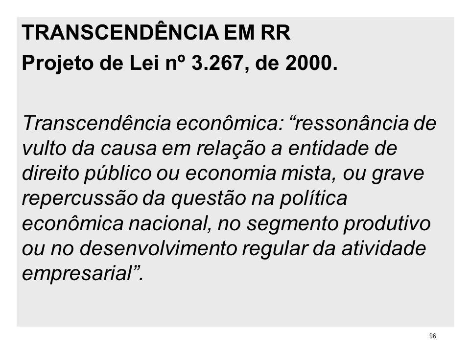TRANSCENDÊNCIA EM RR Projeto de Lei nº 3.267, de 2000. Transcendência econômica: ressonância de vulto da causa em relação a entidade de direito públic
