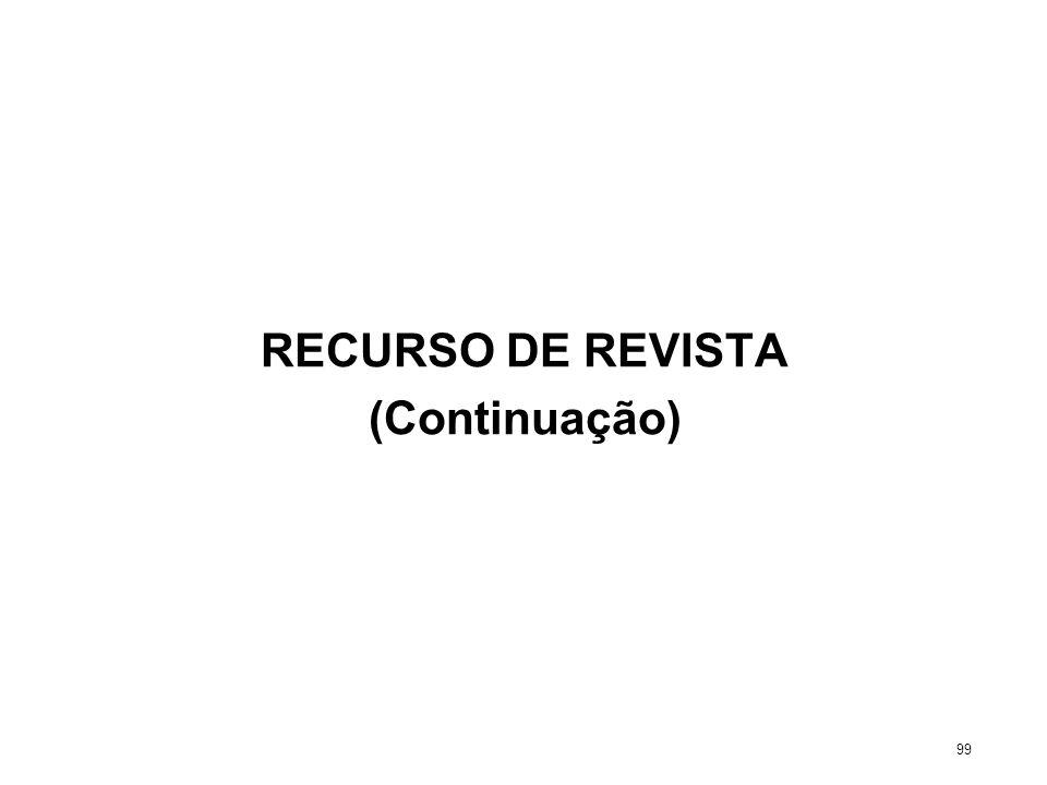 RECURSO DE REVISTA (Continuação) 99