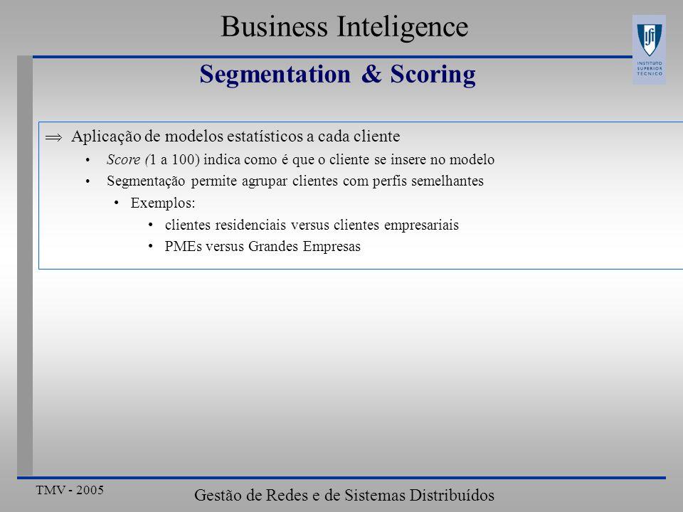 TMV - 2005 Gestão de Redes e de Sistemas Distribuídos Business Inteligence Segmentation & Scoring Aplicação de modelos estatísticos a cada cliente Sco