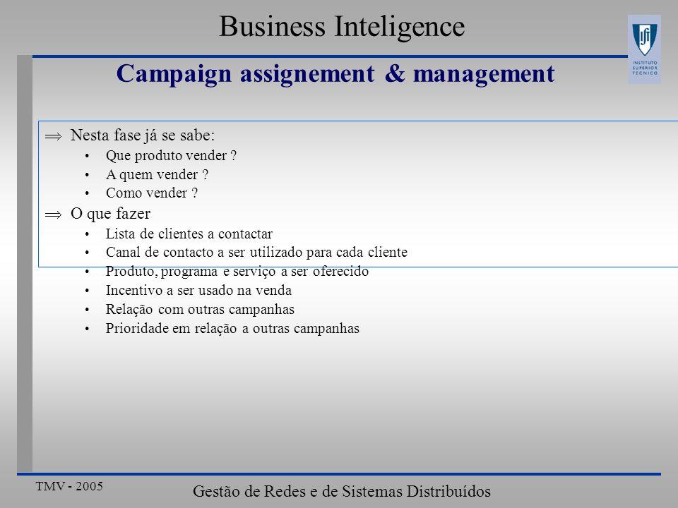 TMV - 2005 Gestão de Redes e de Sistemas Distribuídos Business Inteligence Campaign assignement & management Nesta fase já se sabe: Que produto vender