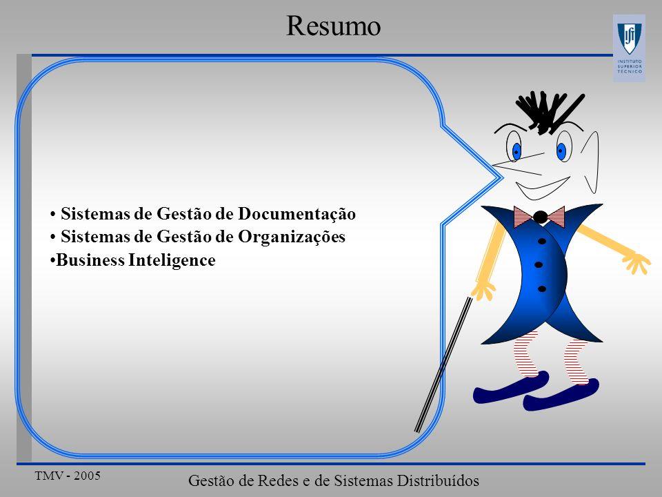TMV - 2005 Gestão de Redes e de Sistemas Distribuídos Resumo Sistemas de Gestão de Documentação Sistemas de Gestão de Organizações Business Inteligence
