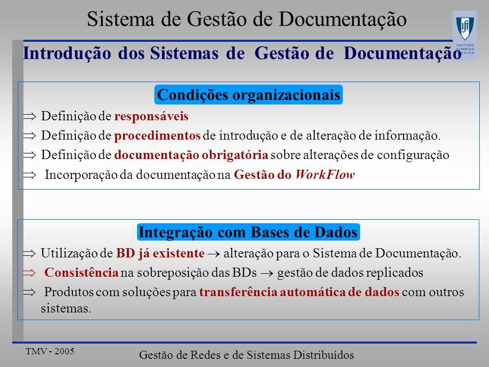 TMV - 2005 Gestão de Redes e de Sistemas Distribuídos Sistema de Gestão de Documentação Conclusões Gestão Integrada Uma só ferramenta ou ferramentas que pareçam uma só Satisfação dos requisitos dos diferentes Operadores Gestão de Aplicações Modelo de Gestão de Aplicações Aberto: ex: Tivoli Interfaces normalizadas: ex: Enterprise JavaBeans Arquitecturas Gateways entre Arquitecturas de Gestão Modelo de Informação Integrado: ex: CIM Meios de Integração Gestão de Organizações Gestão de Problemas / Gestão Documentação Gestão de Problemas Integração de Alarmes, Eventos e Reclamações de Clientes Gestão de Eventos Diversidade de conteúdos e formato Gestão de Documentação Integração no Modelo de Dados
