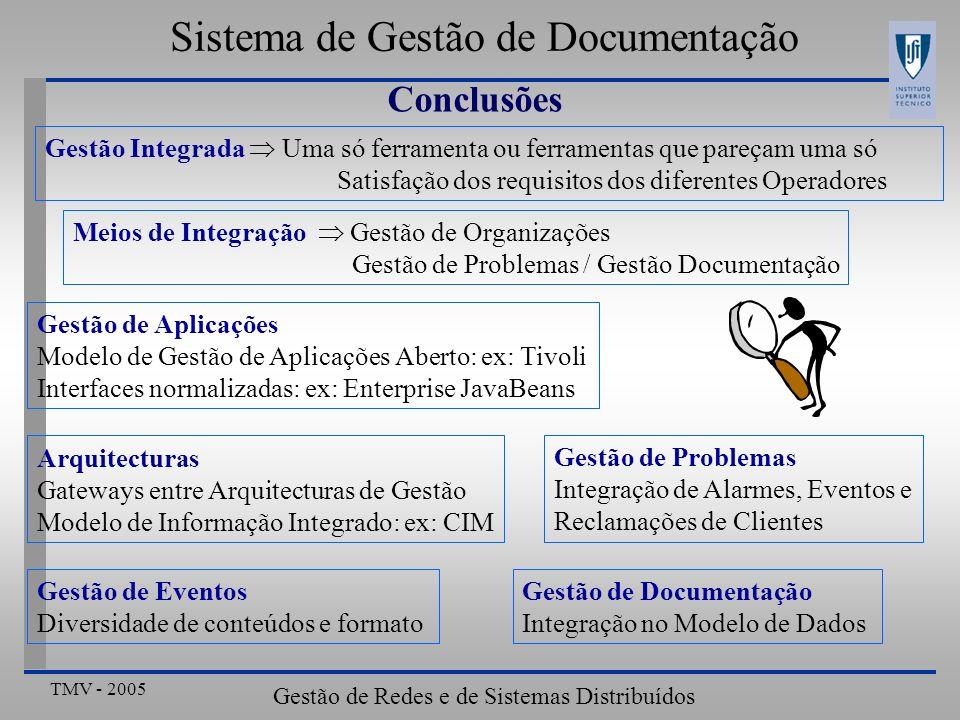 TMV - 2005 Gestão de Redes e de Sistemas Distribuídos Sistema de Gestão de Documentação Conclusões Gestão Integrada Uma só ferramenta ou ferramentas q