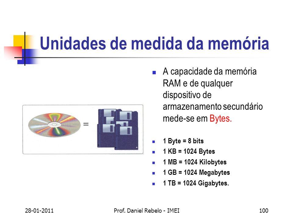 Unidades de medida da memória A capacidade da memória RAM e de qualquer dispositivo de armazenamento secundário mede-se em Bytes. 1 Byte = 8 bits 1 KB