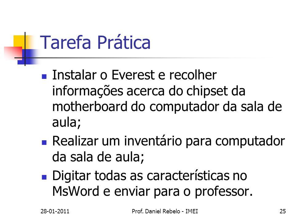 28-01-2011Prof. Daniel Rebelo - IMEI25 Tarefa Prática Instalar o Everest e recolher informações acerca do chipset da motherboard do computador da sala