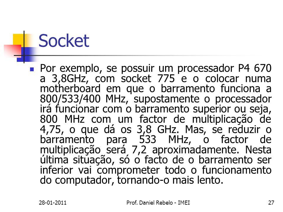 Socket Por exemplo, se possuir um processador P4 670 a 3,8GHz, com socket 775 e o colocar numa motherboard em que o barramento funciona a 800/533/400