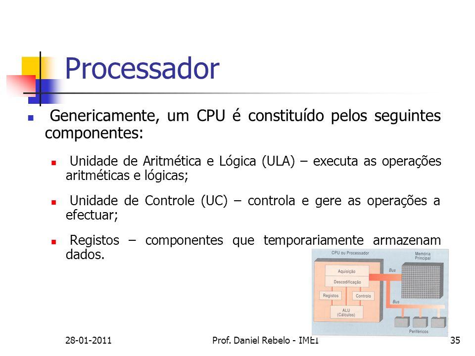 Processador Genericamente, um CPU é constituído pelos seguintes componentes: Unidade de Aritmética e Lógica (ULA) – executa as operações aritméticas e