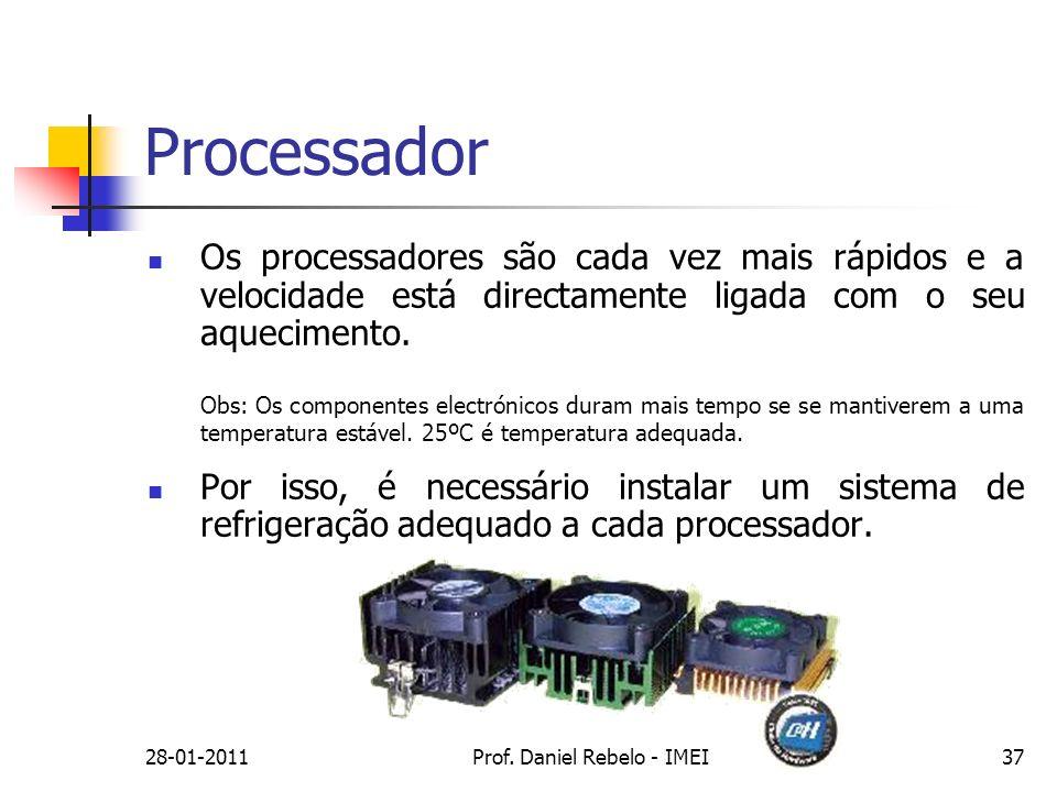 Processador Os processadores são cada vez mais rápidos e a velocidade está directamente ligada com o seu aquecimento. Obs: Os componentes electrónicos
