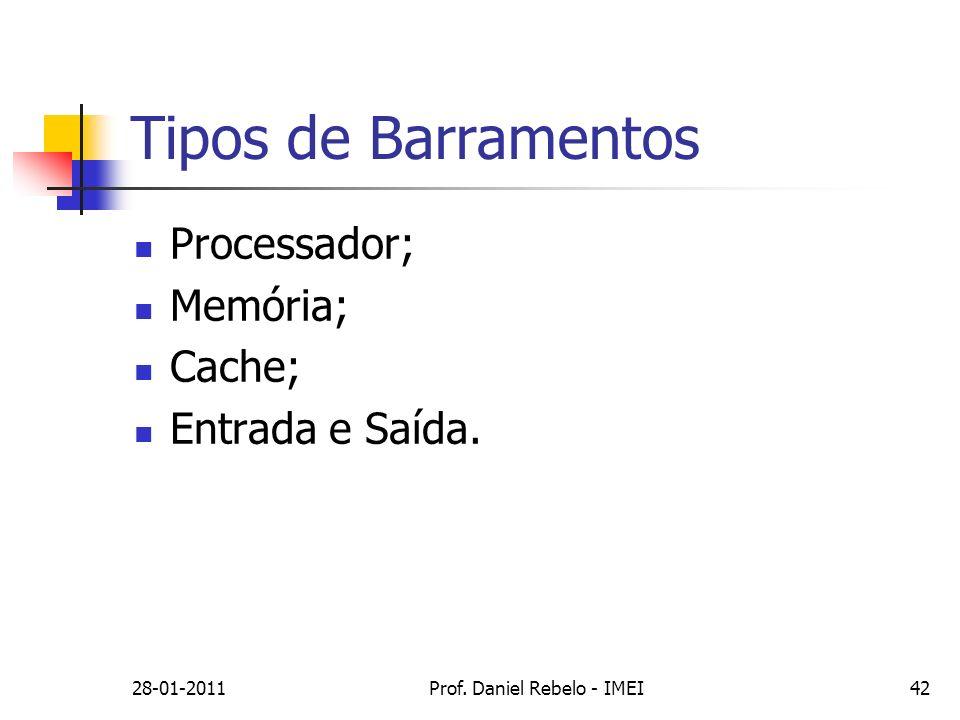 Tipos de Barramentos 28-01-2011Prof. Daniel Rebelo - IMEI42 Processador; Memória; Cache; Entrada e Saída.