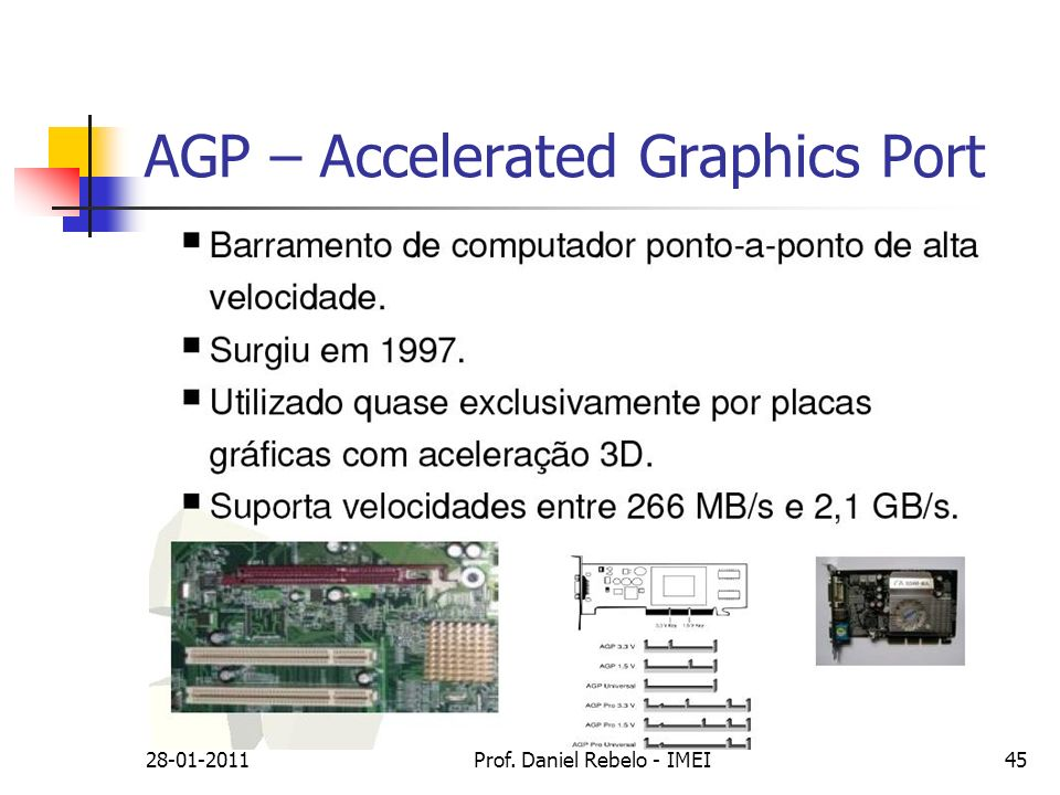 AGP – Accelerated Graphics Port 28-01-2011Prof. Daniel Rebelo - IMEI45