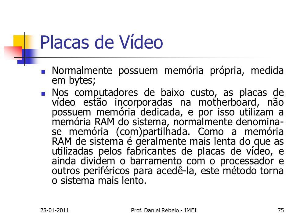 Placas de Vídeo Normalmente possuem memória própria, medida em bytes; Nos computadores de baixo custo, as placas de vídeo estão incorporadas na mother