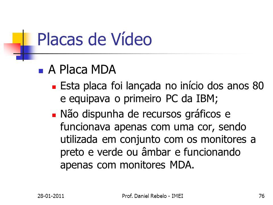 Placas de Vídeo A Placa MDA Esta placa foi lançada no início dos anos 80 e equipava o primeiro PC da IBM; Não dispunha de recursos gráficos e funciona
