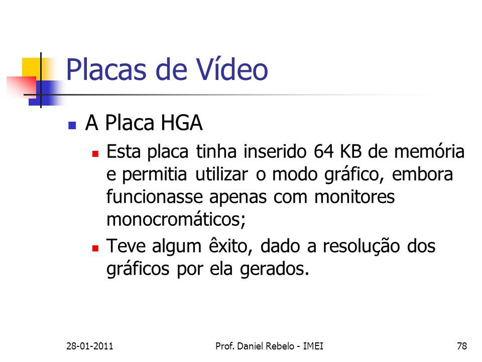 Placas de Vídeo A Placa HGA Esta placa tinha inserido 64 KB de memória e permitia utilizar o modo gráfico, embora funcionasse apenas com monitores mon